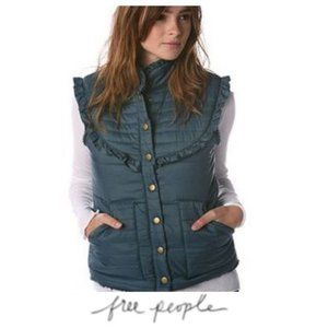 free people ruffle vest blue quilted
